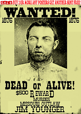 Old West Wanted Poster Outlaw Younger Kid James Dalton Bank Train Rob Reward