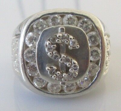 Secondhand 925 sterling silver multi cubic zirconia dollar sign ring size R