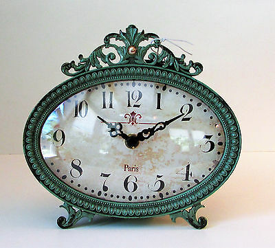 "Creative Co-Op Pewter Table Clock, Aqua, Shabby Chic Mantle Clock 6"" x 6"" New!"