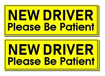 "New Driver Please Be Patient Bumper Sticker Student Drive 2 Pack 9"" X 3"""