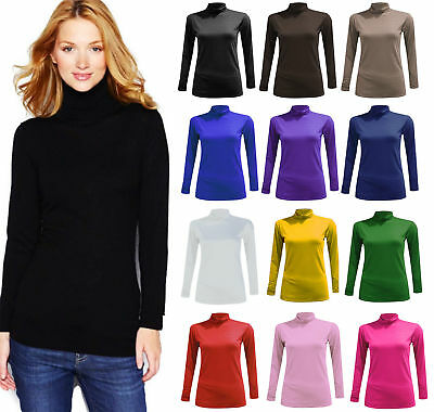 Ladies Women Polo Neck Top Stretch Long Sleeve Turtle Neck Top Jumper All Sizes
