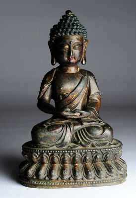 Alter Buddha China Bronze 20 cm Gold und Farbreste B49