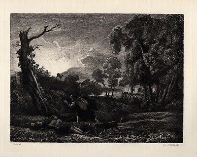 "Claude LORRAIN 1800s Etching ""Cephalus and Procris Tragedy"" SIGNED Framed COA"