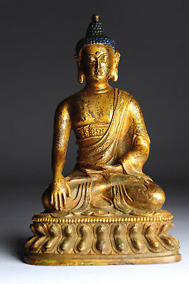 Antiker Buddha 18. Jhd. China vergoldeter Bronze 16 cm Gilt antique