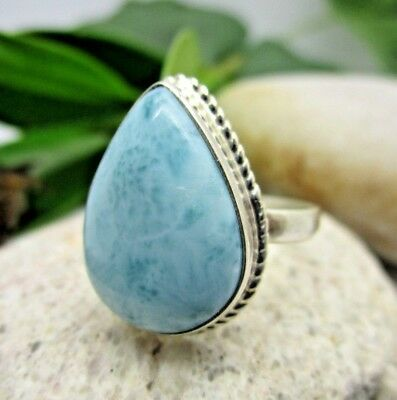 100% REAL Dominican Larimar 925 Sterling Silver Ring 7 3/4 Sz 7.75 Handmade P10