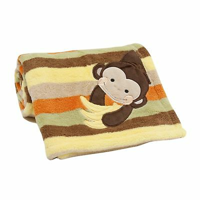 Lambs & Ivy Tickles Baby Blanket - Brown, Animals, Monkey