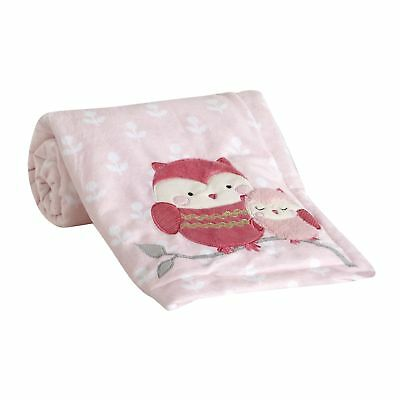 Lambs & Ivy Woodland Couture Blanket - Pink, Gold, White, Animals, Woodland, Owl