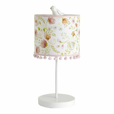 Lambs & Ivy Sweet Spring Pink/White Garden Floral Nursery Lamp with Shade & Bulb