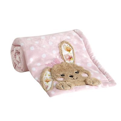 Lambs & Ivy Sweet Spring Blanket - Pink, White, Green, Animals, Garden, Floral