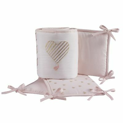 Lambs & Ivy Baby Love 4-Piece Crib Bumper - Pink, Gold, White, Love, Hearts