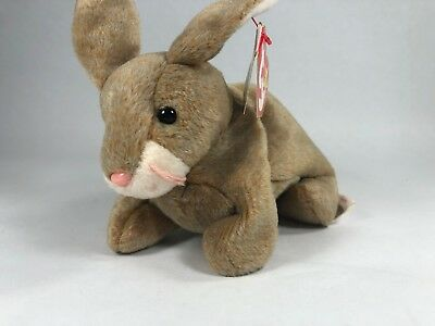Nibbly the Bunny Rabbit 1998 Ty Beanie Baby Tan Plush Bunny