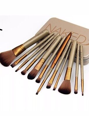 Make-up Brush With Gold Metal Case Set Of 12/pcs Brushes New