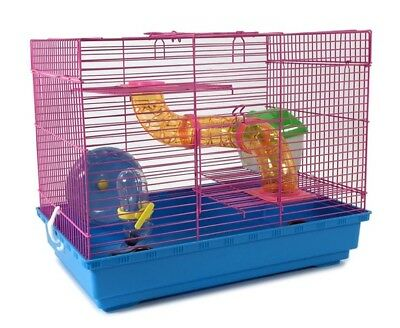 3 Level Hamster Cage with Wheel and Tube