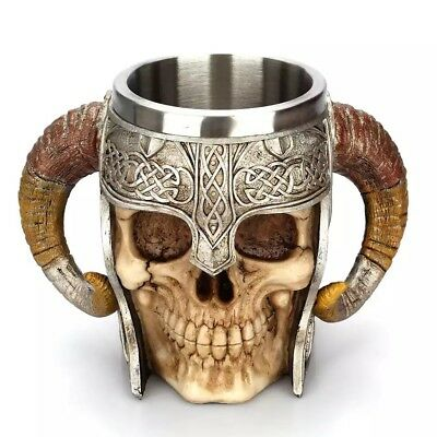 Stainless Steel 3D Skull Cup Beer Coffee Tea Beverage Mug Viking Warrior Skull