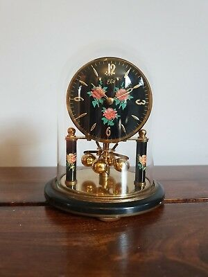 Vintage S.Haller Elo Anniversary Clock with Glass Dome (Black Torsion Pendulum)