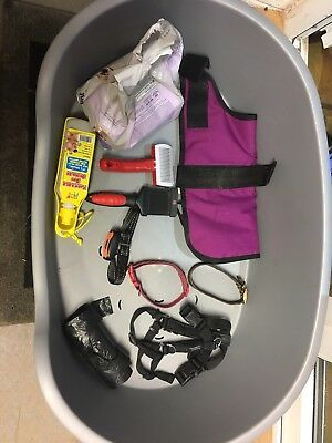Puppy Dog Starter Kit, Coat, Plastic Bed, Barking Collar, Collar, Harness, Brush