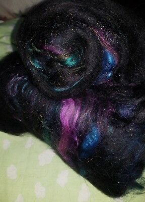 74Gr Fine Merino Wool Silk, Glitz Blend Batts Spinning Felting Fibre Craft