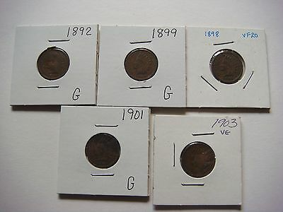 Lot of 5 nice old  Indian Head U.S cent Coins 1892, 1898, 1899, 1901, 1903 #9583