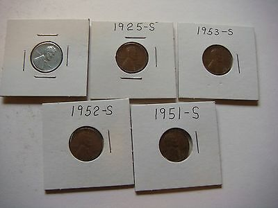 Lot of 5 Lincoln Wheat U.S cent Coins  #9614