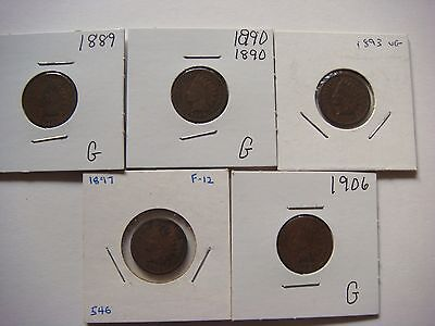 Lot of 5 nice old  Indian Head U.S cent Coins 1889, 1890, 1893, 1897, 1906 #9581