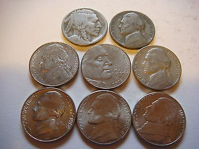 Lot of 8  Nickels U.S five cent Coins  nice  mixture #9602