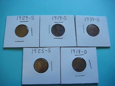 Lot of 5 Old Lincoln Pennys Pre 1940 ,   #03072