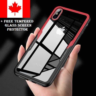 For iPhone 7 / 8  Luxury Shockproof Hybrid PC Clear Back Case  + Tempered Glass