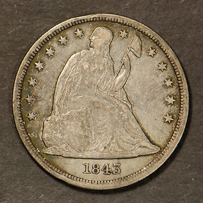 1843 SEATED LIBERTY $1 SILVER DOLLAR ** NICE EARLY US COIN Lot#B970