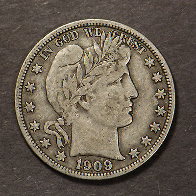 1909 BARBER 50C Silver HALF DOLLAR ** BETTER DATE Lot#C045