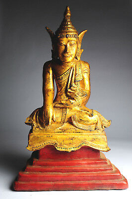 Alter Buddha Burma 55 cm Gold Lacquer antique antik Thailand Yoga B62