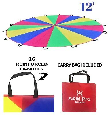Giant 12' Kids Play Rainbow Parachute Outdoor Game Development Exercise + Bag