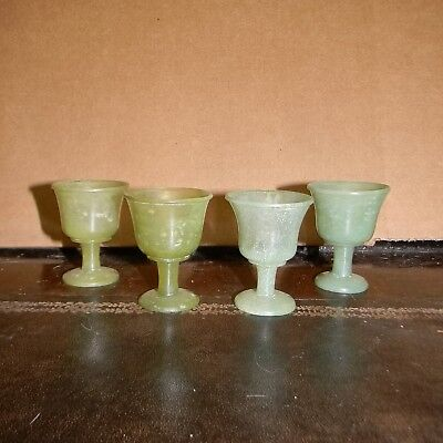 """4 Vintage Chinese Jade 1 7/8"""" tall Carved Goblets/Glasses."""