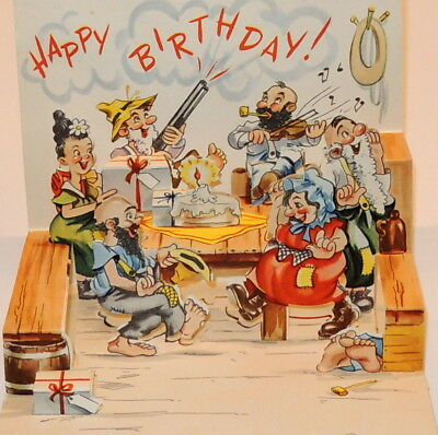 Vtg Pop Up Birthday Card Hillbillies Used
