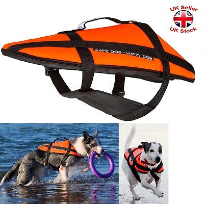 DOG LIFE JACKET Buoyancy Aid Swimming Vest Float Reflective Adjustable 5 Sizes