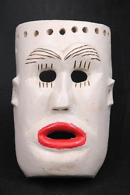 Vntg Wood Hanging Mask Mexico Folk Art Hand Crafted/Painted Collectible Red Lips