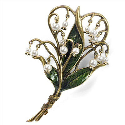 Sweet Romance Lily of the Valley Pin Brooch Art Nouveau-Style ~Made in the USA~