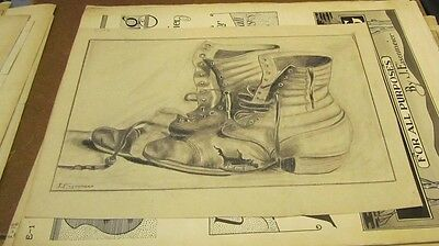 1910 Era Period Style Mens Work Shoes Eisenmeier Artist Signed Original Drawing