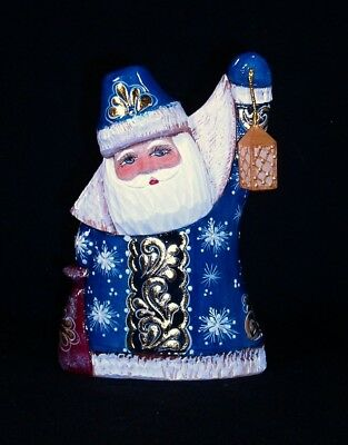 Very Cute RUSSIAN Wooden SANTA Hand Carved&PAINTED w/Lantern in Blue #1066-18/2