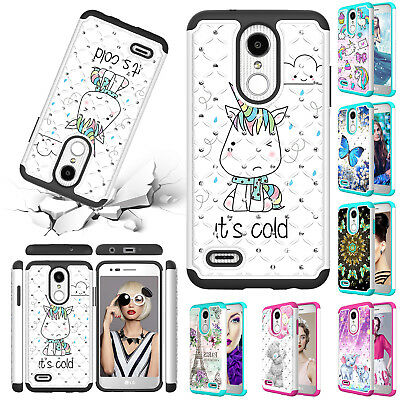 For LG Stylo 4 G7 ThinQ V40 Q7 Phone Case Shockproof Hybrid Rubber Diamond Cover