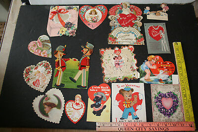 Lot of 15 Vintage Valentine Greeting Cards Victorian Antique