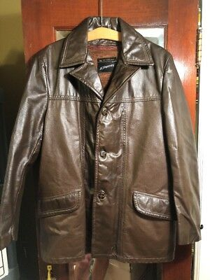 5e061110f35 JCPenney Vintage Brown Leather Coat Jacket Men s Hipster Zip Out Liner Size  40