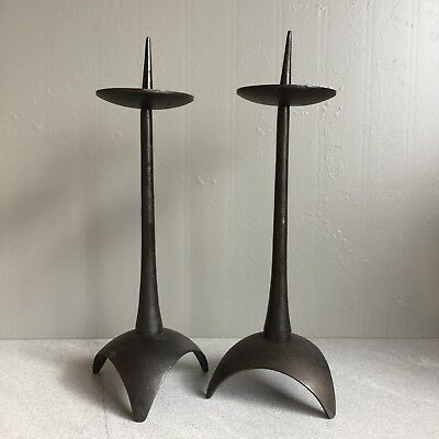 Vtg Mid Century Brutalist Wrought Iron Pair Candle Holder Sculptures Japan MCM