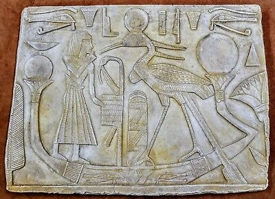 Ancient Egyptian Wall Tablet Plaque Ramses Boat Tut Isis Anubis Horus
