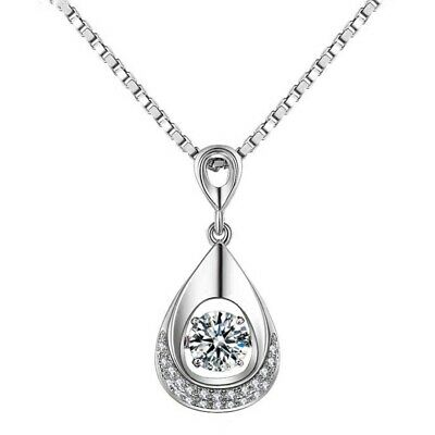 New Water Drop Pendant 925 Sterling Silver Chain Necklace Womens Girls Jewellery