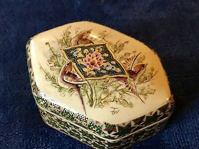Vintage Hand Painted Birds Persian Khatam Inlaid Marquetry Hinged Box With Lid