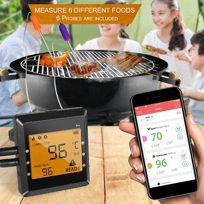 Digital Bluetooth Remote Smoker 6 Probe Wireless Meat Oven BBQ Thermometer