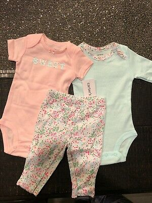 e0070eec1 NWT Carters Baby Girl Clothes 3 Months 3 Piece Bunny Bodysuits Pants Outfit  Set