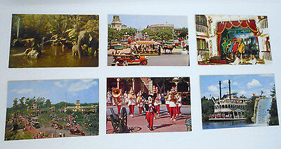 1950s DISNEYLAND 6 Souvenir POSTCARDS Mickey Mouse Frontierland Steamboat