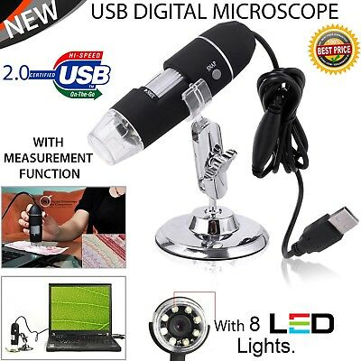 8 LED 1000X USB 2.0 Digital Microscope Endoscope Zoom Camera Magnifier+Stand 2MP