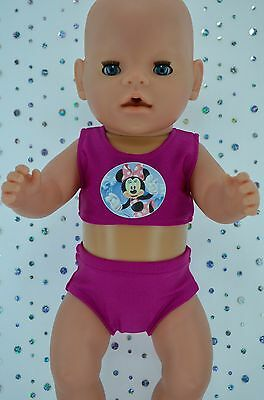 "Play n Wear Doll Clothes For 17"" Baby Born HOT PINK SWIMMING BIKINI"